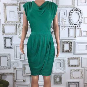 BCBGMAXAZRIA | Green Cowl Neck Faux Wrap Dress